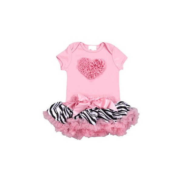 Pink Zebra Love Tutu Set ($25) ❤ liked on Polyvore featuring baby, baby clothes, baby girl and baby stuff