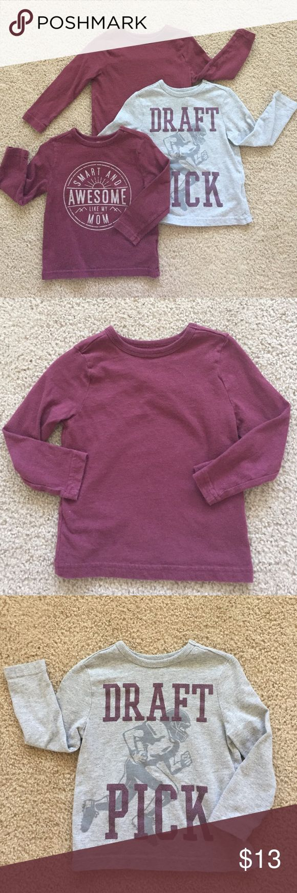 """old navy toddler bundle Bundle of three long- sleeve Old Navy tees.  All three are in great condition.   """"Smart & Awesome"""" & plain shirt without logo are a maroon color. Old Navy Shirts & Tops Tees - Long Sleeve"""