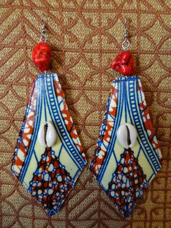 African wax print warrior earrings ~African fashion, Ankara, kitenge, African women dresses, African prints, Braids, Nigerian wedding, Ghanaian fashion, African wedding ~DKK