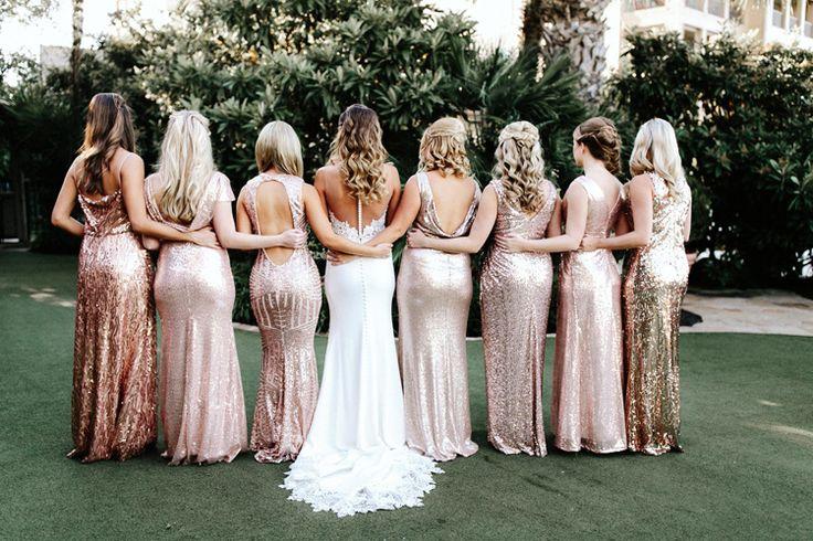 Rose gold sparkly bridesmaid dresses | modern bridesmaid dresses | mismatched bridesmaid dresses | sequin bridesmaid dresses | metallic bridesmaid dresses (Gloria Goode Photography)