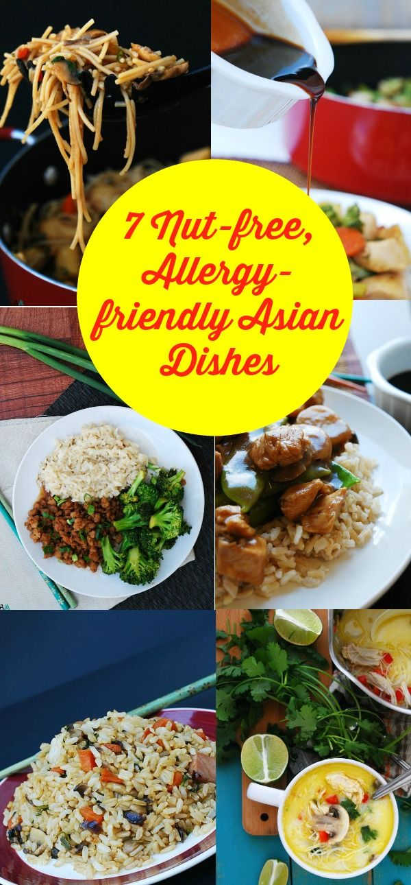 Asian dishes that are free of peanuts and tree nuts--as well as most other top allergens. Don't do take-out, make your own! Delicious dinner recipes by AllergyAwesomeness.com  |nut-free Asian recipes| |peanut free Asian recipes| |tree nut free asian recipes| |gluten free asian recipes| |dairy free asian recipes| |allergy friendly asian recipes| |allergy friendly recipes for Chinese New Year| |chinese new year recipes|