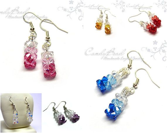 Beautiful Color Shade Swarovski earrings with hiqh quality silver seed beads, small and cutie style // candybead