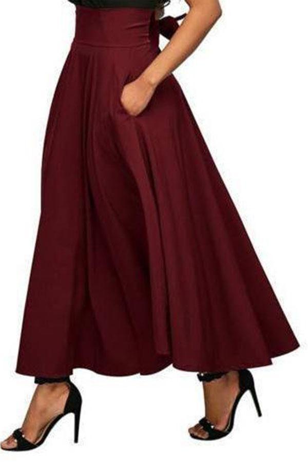 Asymmetrical Womens High Waist Hem Woolen Long A-Line Skirts Dress Chic Cocktail