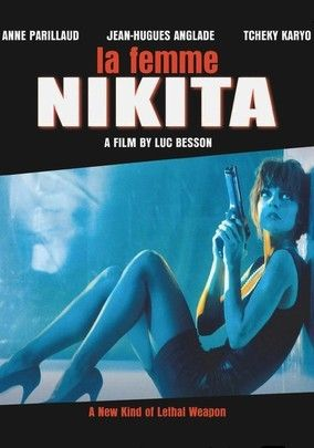 """La Femme Nikita (Nikita) -1990. Internationally acclaimed director Luc Besson delivers the action-packed story of Nikita, a ruthless street junkie whose killer instincts could make her the perfect weapon, in this French film that was remade as Point of No Return in the U.S. Recruited against her will into a secret government organization, Nikita is broken and transformed into a sexy, sophisticated """"lethal weapon."""" Cast: Anne Parillaud, Jean-Hugues Anglade, Tchéky Karyo."""