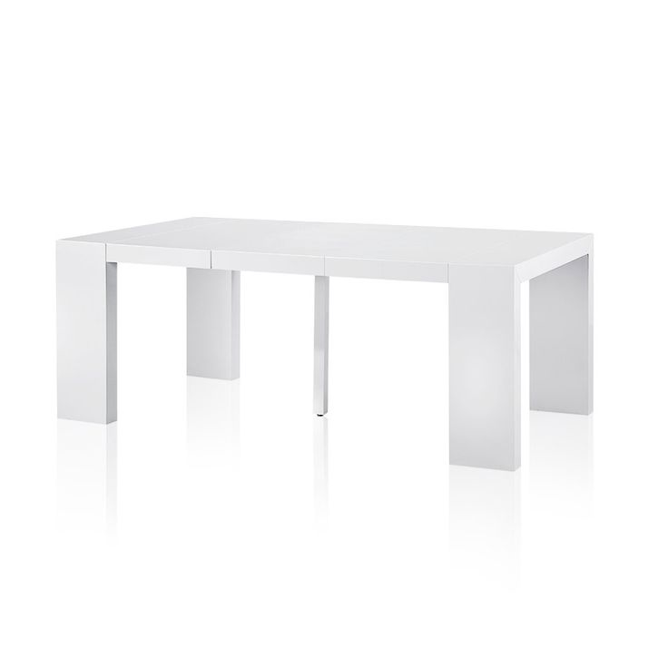 Table console extensible 3 rallonges Blanc laqué - Format table 200cm de long