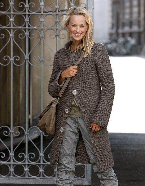 l?ngkofta // garter stitch knit sweater coat // taupe <3 Fashion Style