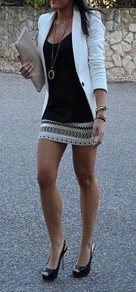 Printed skirt and blazer