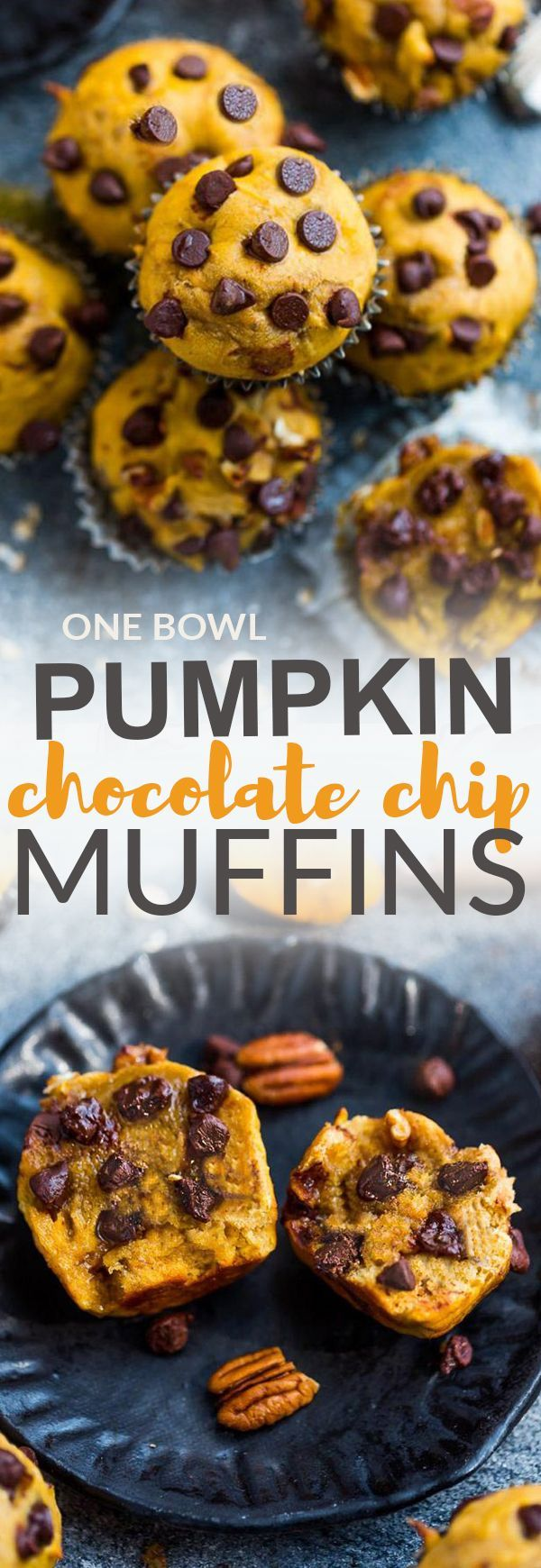 Pumpkin Chocolate Chip Muffins – the perfect easy ONE BOWL breakfast or on the go snack for fall. Best of all, they're soft, tender, moist and bursting with cozy and warm fall flavors. A delicious autumn treat for packing in school lunchboxes or an afters