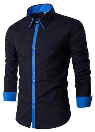 Camisa Moderna Negra Lisa con Detalle en Contraste - en Azul y Rojo