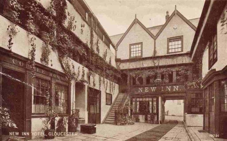 The New Inn in Northgate Street, Gloucester is a bar and hotel. The building dates back to the 14th Century and it was originally built to house pilgrims visiting the shrine of King Edward II at nearby Gloucester Cathedral.