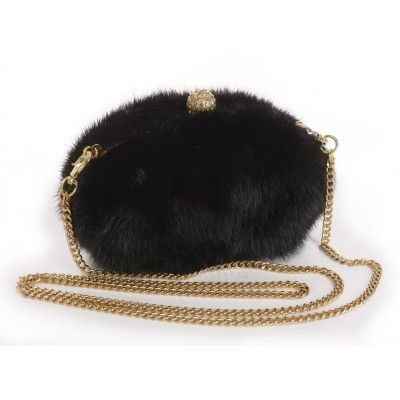 Mink Clutch with Detachable Metal Shoulder Strap & Light Gold Closure with Crystals