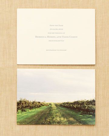The Save-the-Date  Though the couple is Manhattan based, they treated their Bridgehampton, New York, nuptials as a destination wedding. To set the tone, Rebecca and Todd sent letterpressed save-the-dates. On the back, stationer Julie Holcomb created a giclee print of the spot where the couple would tie the knot.