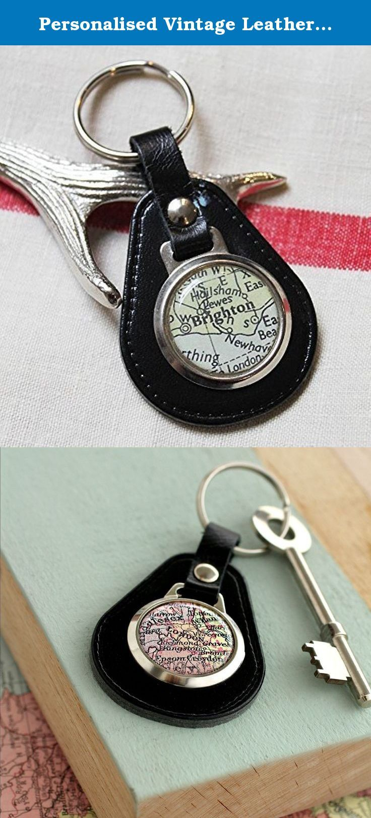 Personalised Vintage Leather Map Keyring. This lovely personalized vintage map keyring is the perfect gift! Inspired by the vintage MG keyrings we set about creating a vintage map keyring with your favorite destination, where you got married or simply where you live. The cufflinks and necklaces have proved so popular and in our Brighton store these have always been a best seller.