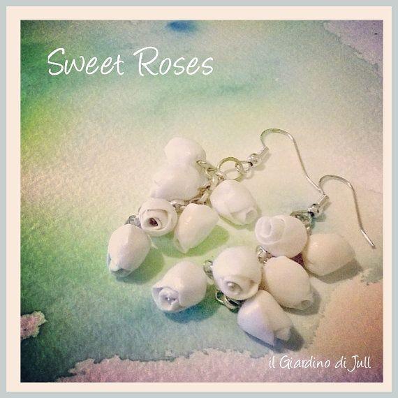 porcelain dangling earrings Sweet Roses by IlGiardinodiJull