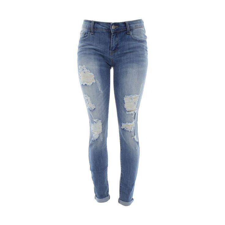 Cello Jeans - Women's Rips Roll Cuff Skinny Jeans - Light Blue
