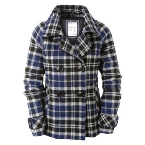 Aeropostale women's plaid pea coat jacket - S