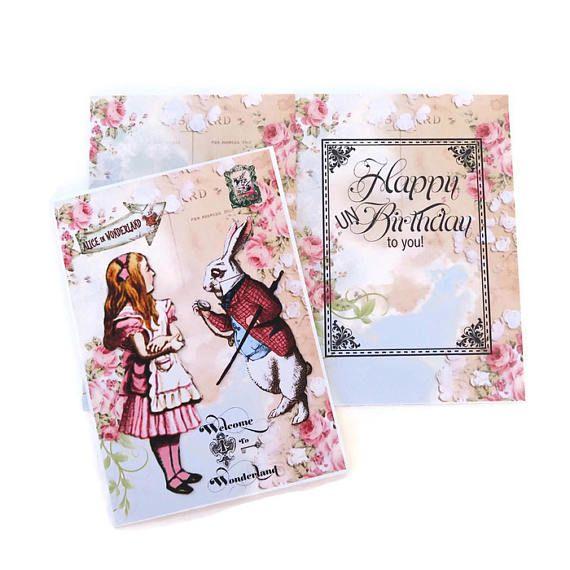 Alice in Wonderland Birthday CardTea Party Eat meWhite