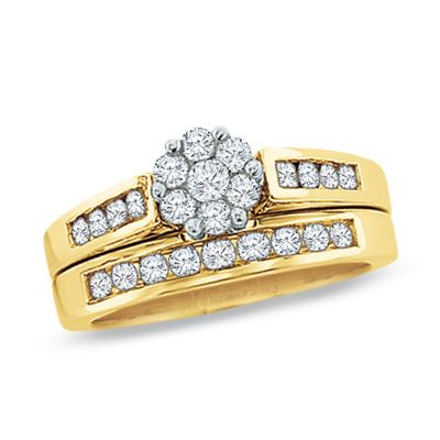 1/2 CT. T.W. Diamond Flower Bridal Set in 10K Gold