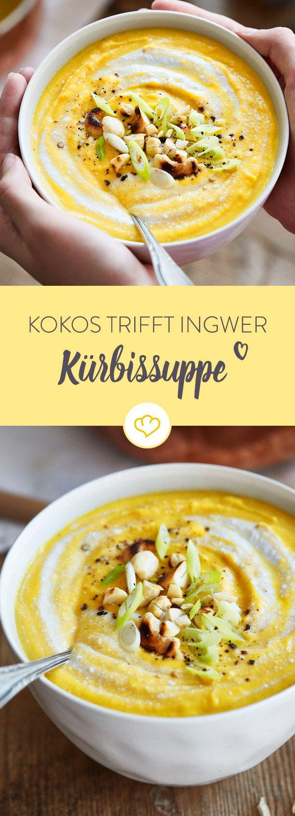 Einfache Zutaten, wenig aktives Kochen: Diese Kürbissuppe lässt sich bequem nach Feierabend zaubern und macht durch die Linsen auch noch richtig satt.