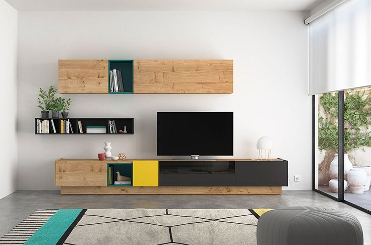Salones modernos modulares en diferentes acabados. Roble nudoso, verde mate, carbón mate, cristal parsol gris, ocre mate y carbón mate. Modern living room design.
