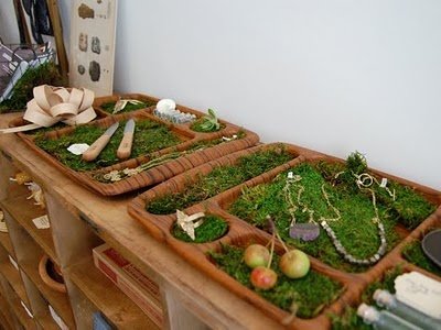 LOVE the idea of creating little play trays lined with grass or moss for dramatic play scenarios. Combine with logs, little felt people, animals, etc. For more inspiring classrooms visit: http://pinterest.com/kinderooacademy/provocations-inspiring-classrooms/ ≈ ≈