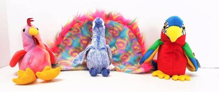 TY Original Beanie Babies Flashy Strut Jabber Bright Colorful Birds Set of 3  #Ty