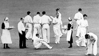 Teatime during a match in which Griffiths and I narrowly defeated a local Indian team. We didn't gloat though, a gentleman is always a good sport.