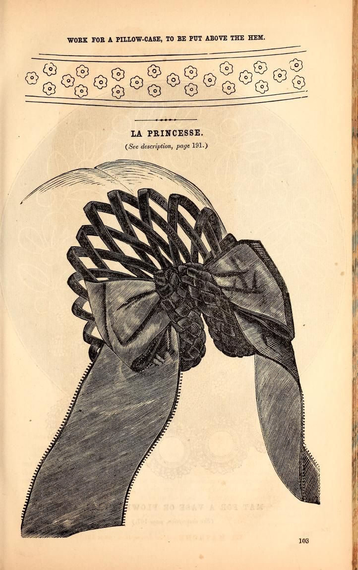 """1860 Godey's. """"La Princesse. This style of headdress is exceedingly pretty for young ladies, as it is so very simple. It is formed of plaits of narrow velvet and a bow of wide ribbon."""""""