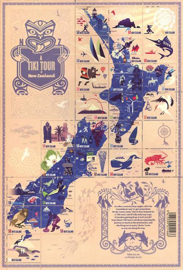 New Zealand Stamp Map