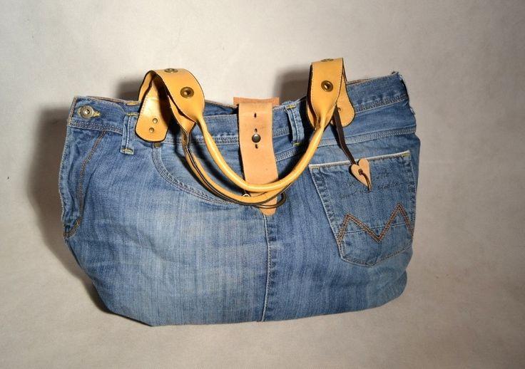 https://www.facebook.com/RozetaModa/photos/pcb.1189027837774328/1189026967774415/?type=3  bag made from men's jeans