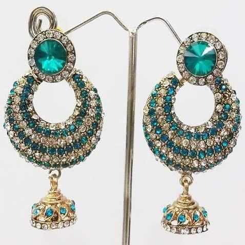 Earrings, Earring, Firozi Stone Studded Imitation Earring | $34.15