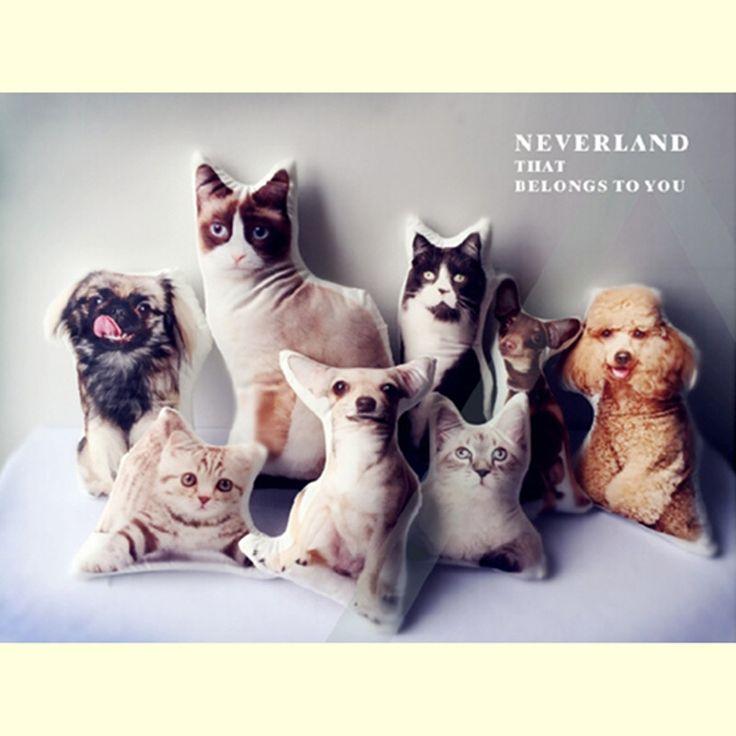 45 см настройка печатных собака/кошка щенок подушки, подушки сделать ур собственный щенок игрушка, кошка мягкие игрушки для детей девочек украшение дома подарок