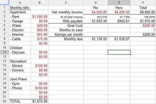 financial planning worksheet excel