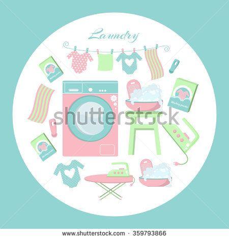 Circle Laundry pattern. Set of laundry symbols: washing machine, laundry drying on a washing lines, basin, washing powder, iron and ironing board.