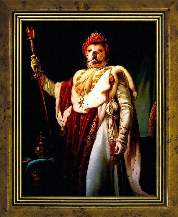 Digital, Сustom животное портрет, Королевский костюм домашнее животное портрет, портрет собаки, изготовленный на заказ Vintage Regal Pet портрет, изготовленный на заказ портрет, Смешной