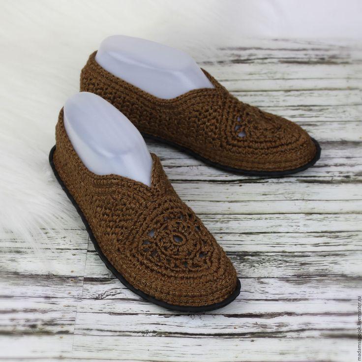 Купить Туфельки вязаные - мокасины женские, мокасины вязаные, вязаная обувь, летняя вязаная обувь