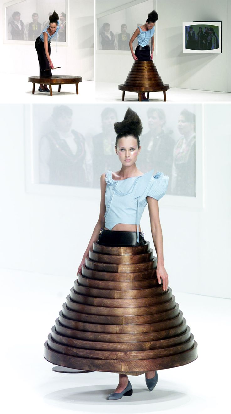 Challenging our approach to the form of the figure and What is fashion - this garment transforms into a table - Hussein Chalayan - After Words - Fall 2000