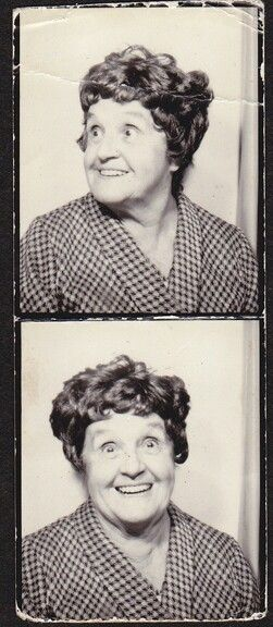 +~ Vintage Photo Booth Picture ~+  Love her jolly expression!