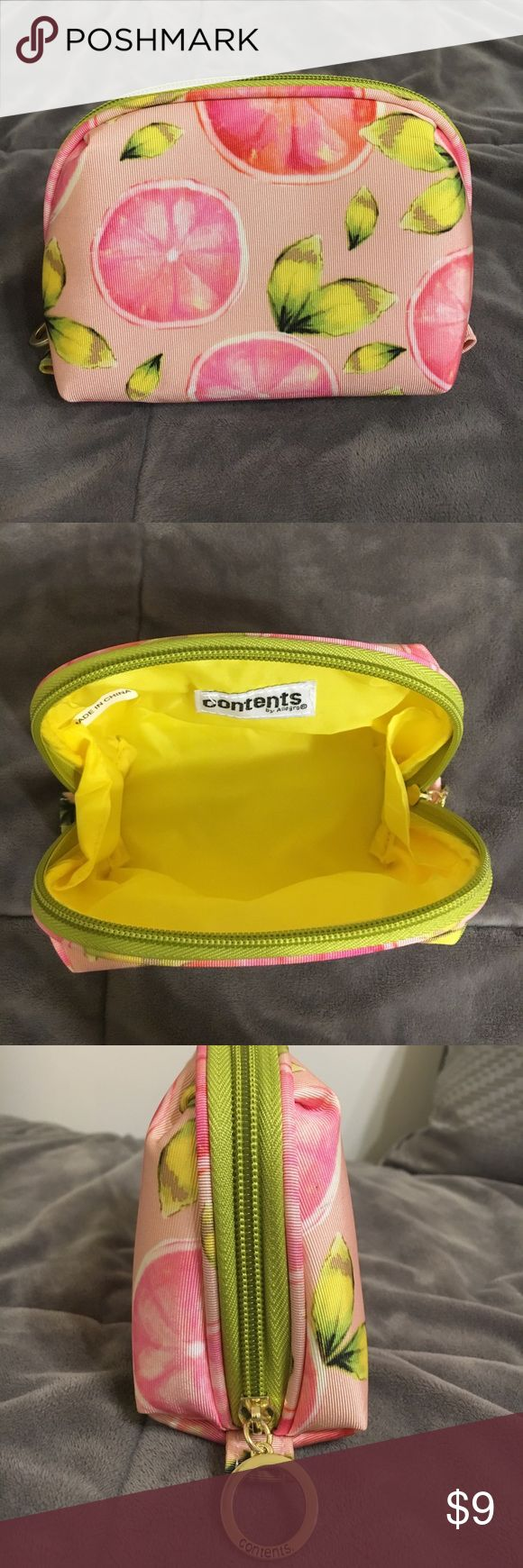 Small Contents Makeup Bag Pink Lemon Print super cute small makeup bag!! perfect condition, never used! by the brand contents:)) would make a great travel bag for jewelry or makeup! contents Bags Cosmetic Bags & Cases