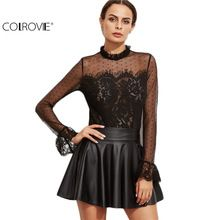 COLROVIE Designer Shirts for Women Top Brand Black Lace Blouse Black Fungus Collar Keyhole Back Lace Trim Top Long Sleeve Blouse //FREE Shipping Worldwide //
