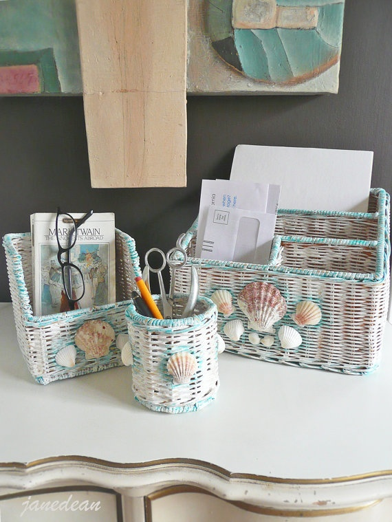SALE  Shabby Shell Desk Set  3 hand painted wicker by janedean, $24.99