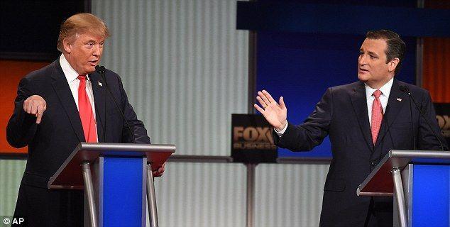 Trump, left, speaks as Republican presidential candidate, Sen Ted Cruz, R-Texas, during Th...