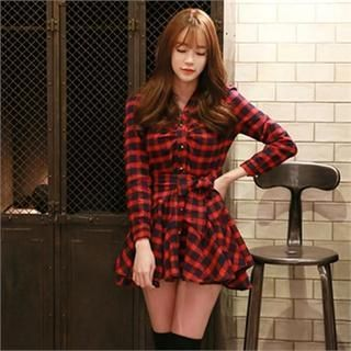 Godet-Hem Plaid Shirtdress with Sash from #YesStyle <3 Attrangs YesStyle.com