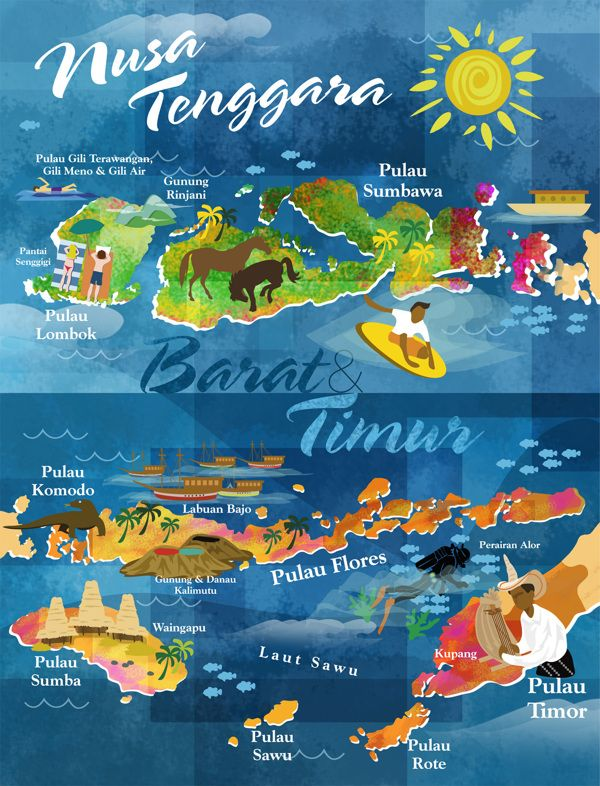Nusa Tenggara Map by Saesarez Novandito -Showing the Islands and attractions of the region, including Lombok, Gili, Sumbawa, Flores, Komodo, Timor and Sumba