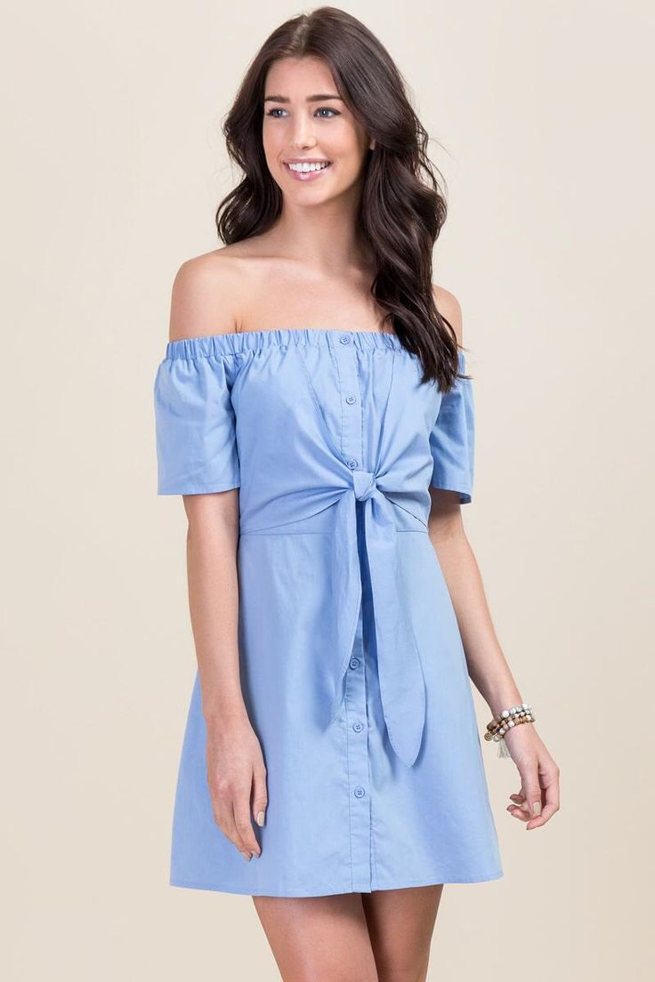 Into your fashion game with amazing party dresses cocktail dresses day - Alyssa Poplin Bow Dress Oxford Blue