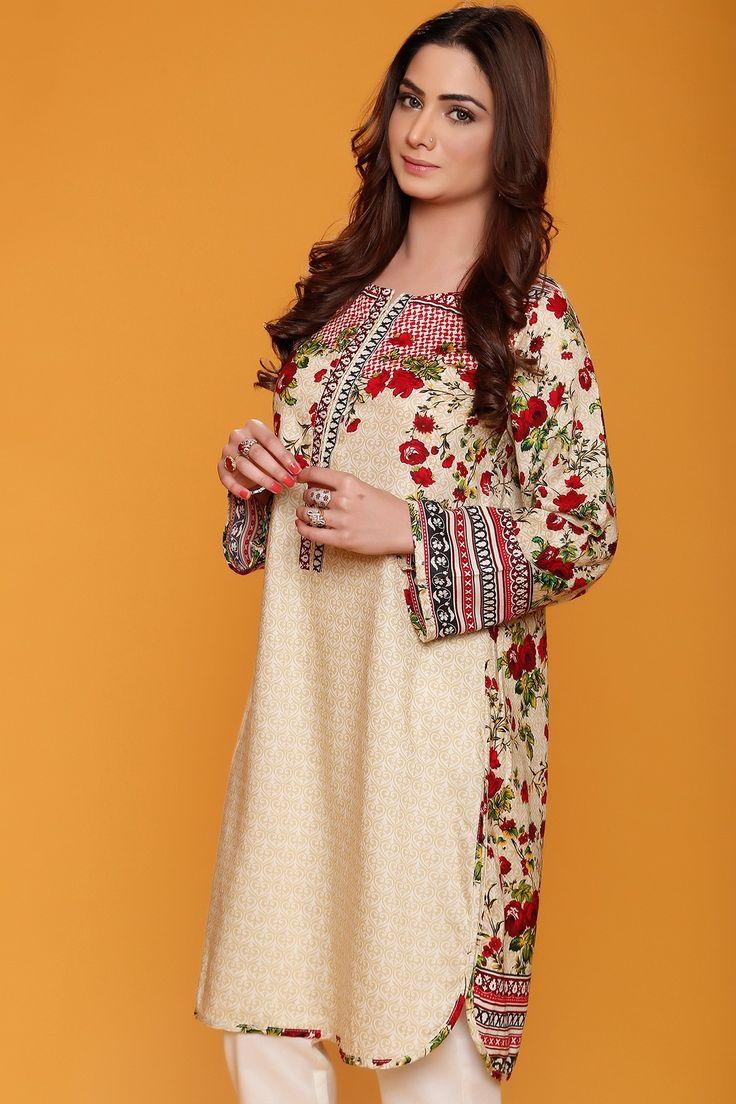 Pakistani Designer Dresses - Lowest Prices - Red Floral Printed 2 Pcs Winter Dress by Origins - Dresses  - Latest Pakistani Fashion