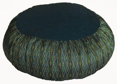 "Meditation Cushion Zafu Buckwheat Pillow """"Teal Global Weave"""""