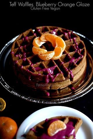 Teff Waffles with Blueberry Orange Glaze (gluten free Vegan)