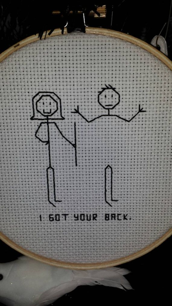 I Got Your Back Cross Stitch Hoop