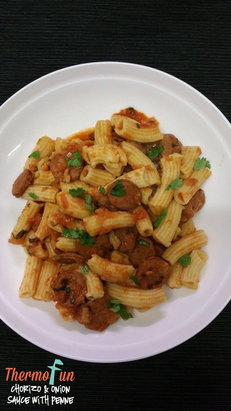 ThermoFun – Mad Monday – Chorizo and Onion Sauce with Penne Recipe